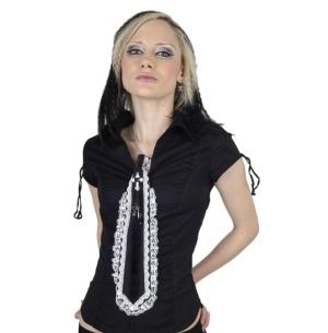 Gothic Krawatte schwarz mit weisser Spitze