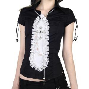 Gothic Krawatte mit Kreuz und Perlen