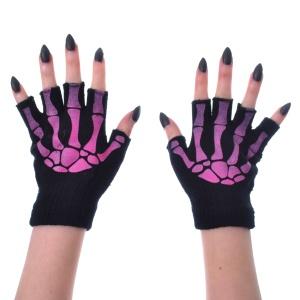 Handschuh fingerlos Skeletthände