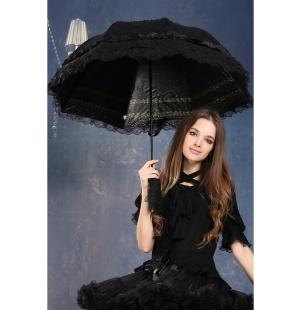 Gothic Regenschirm mit Spitze und Tasche Dark in Love
