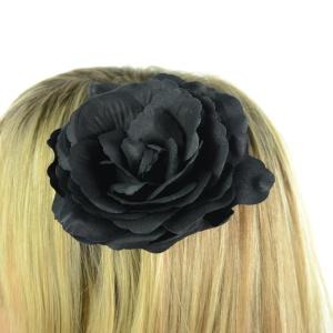 Haarspange Black Rose schwarze Rose