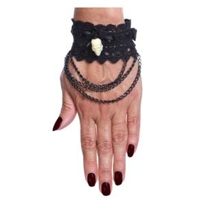 Gothic Manschetten Armband Spitze Brokat Sinister