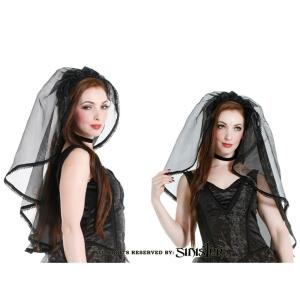 Schwarzer Organza Hochzeitsschleier