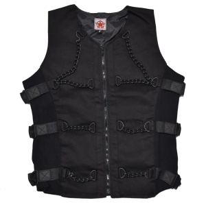 Cyber Weste Chain Vest Denim Black Pistol