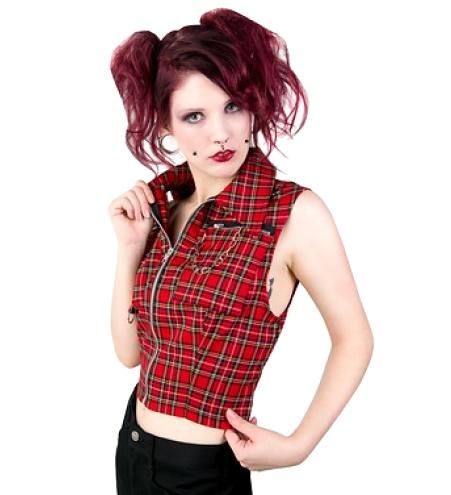 Punky Vest Tartan/Punkweste Black Pistol