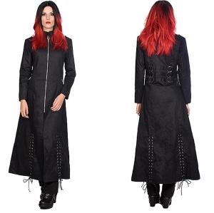 Gothicmantel Ladies Ring Coat Black Pistols