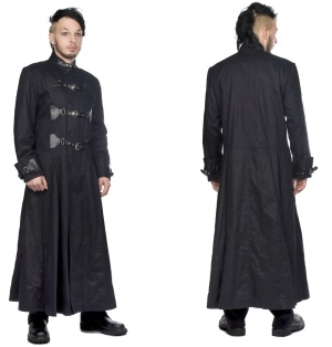 Herren Mantel Closure Coat Black Pistols