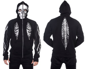 Herren Kapuzenjacke Skellett Full Zip Hoodie Banned