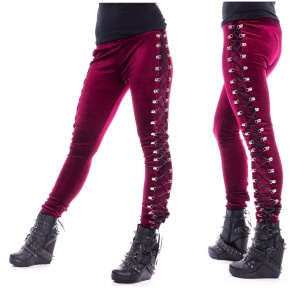Beetle Leggings Chemical Black/Samtleggings mit Schnürung