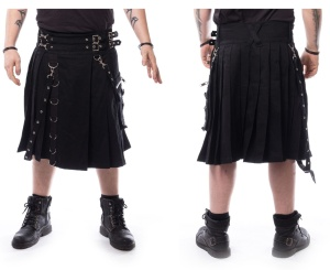 rockiger Kilt im Gothicstil Chemical Black