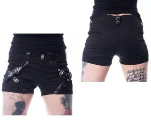 Jeansshort Cara mit Schnallen Chemical Black