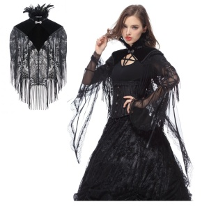 Gothic Fransen Cape kurz Dark in Love
