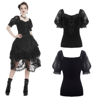 Gothic Top mit Puffärmel Dark in Love