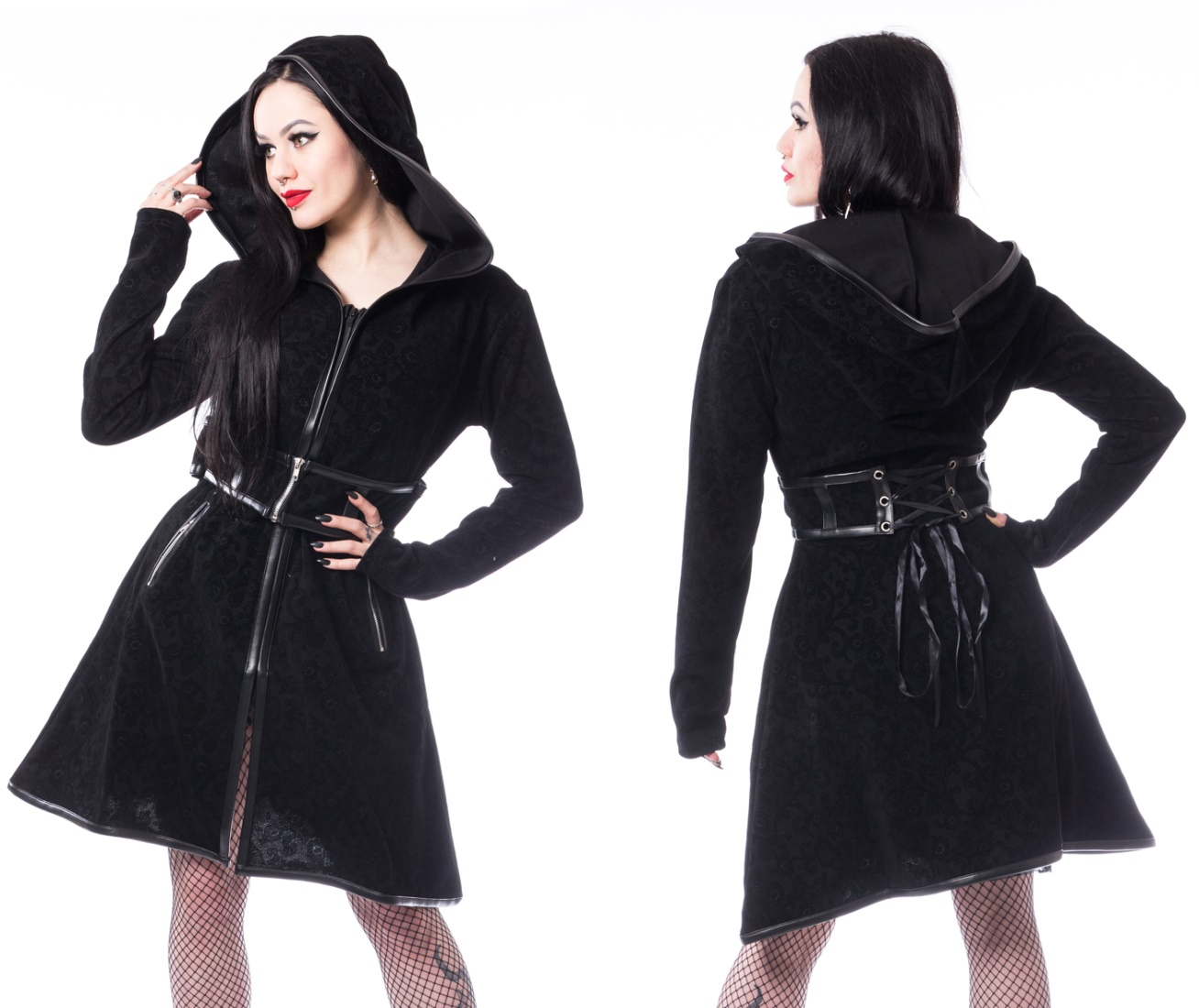 Damenmantel mit Taillenkorsage Dark Sense Coat Poizen Industries Poizen Industries bei Gothic Onlineshop the
