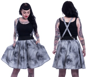 Dark Smoke Skirt Trägerrock im Rockabilly Stil Vixxsin