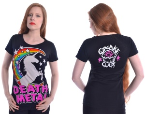 Damen T-Shirt Death Metal Einhorn Cupcake Cult
