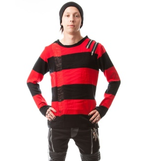Herren Strickpullover gestreift Drop Dead Shirt Vixxsin
