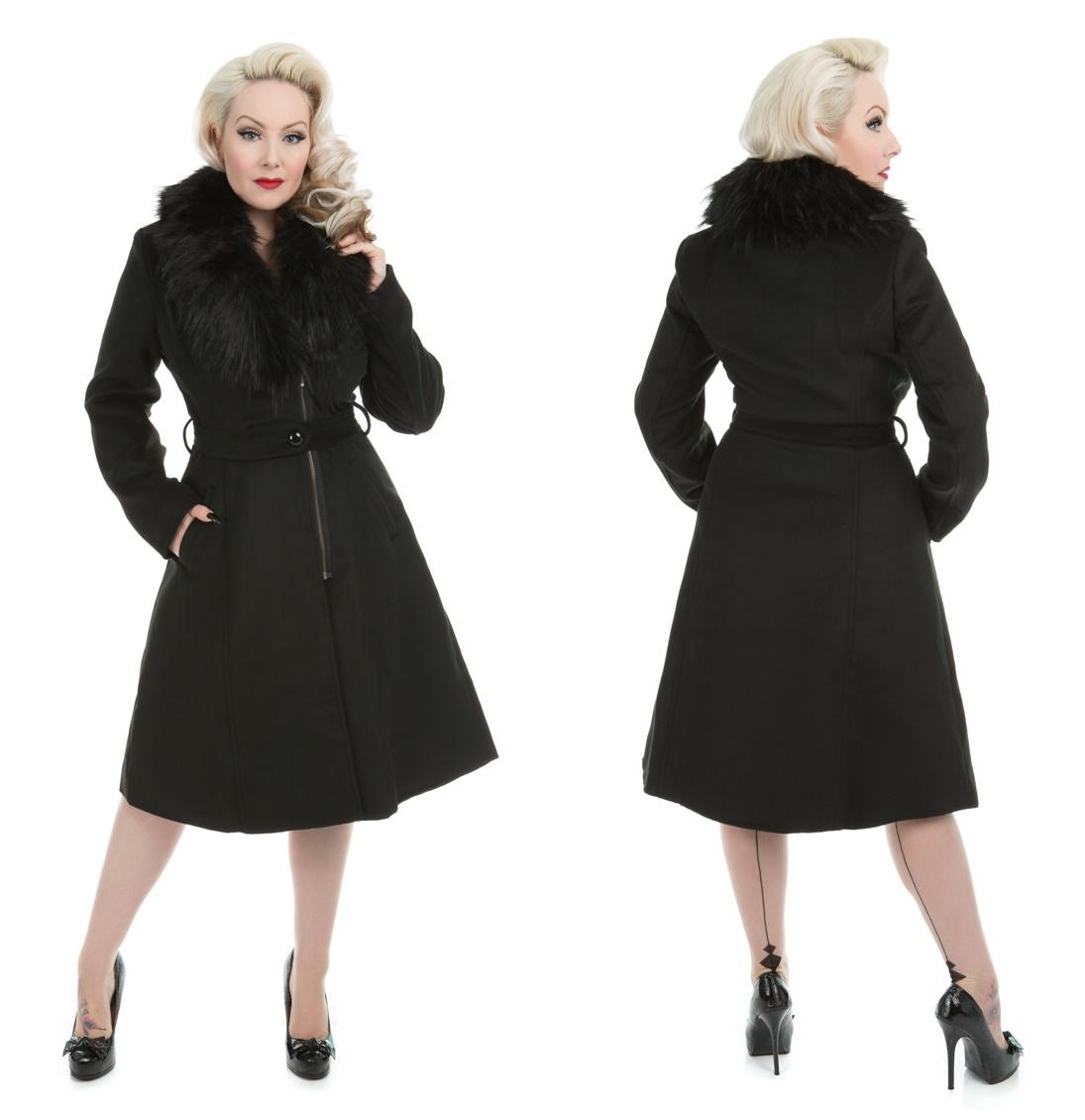 Damen Mantel mit Kunstpelzkragen H&R London