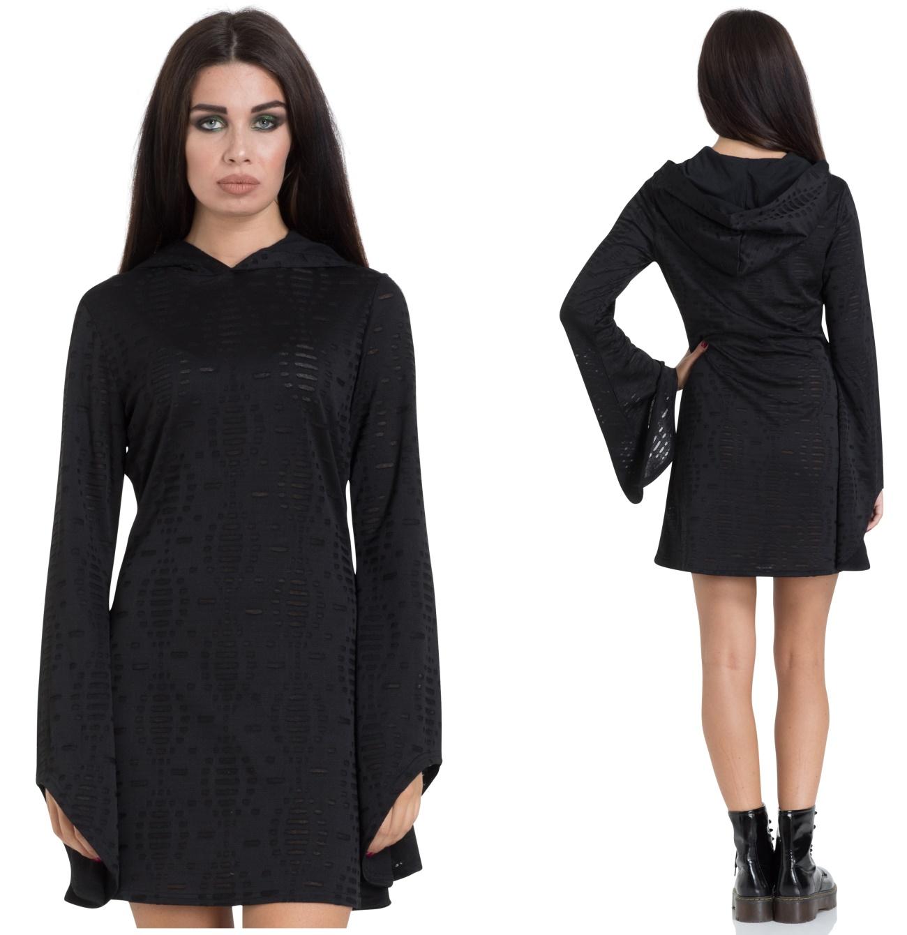 gothic kleid mit kapuze und weiten Ärmeln jawbreaker