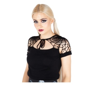 Kurzarmpullover Spiderweb Knit Top Jawbreaker