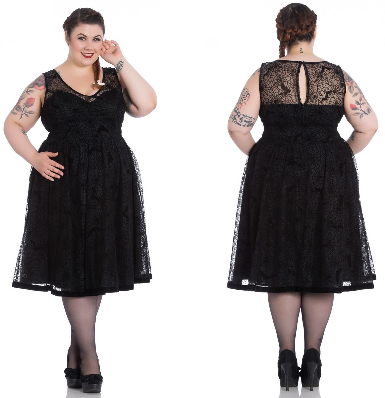 Amarande Dress/Kleid Spinnennetz Plussize Hellbunny - Hellbunny ...