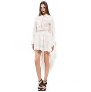 Rüschenbluse Damen Gothic white