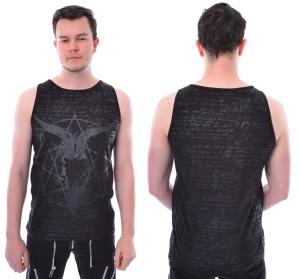 Ärmelloses T-Shirt mit Pentagramm und Schädel Druck