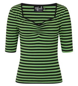 Shirt grün/schwarz gestreift Hell Bunny