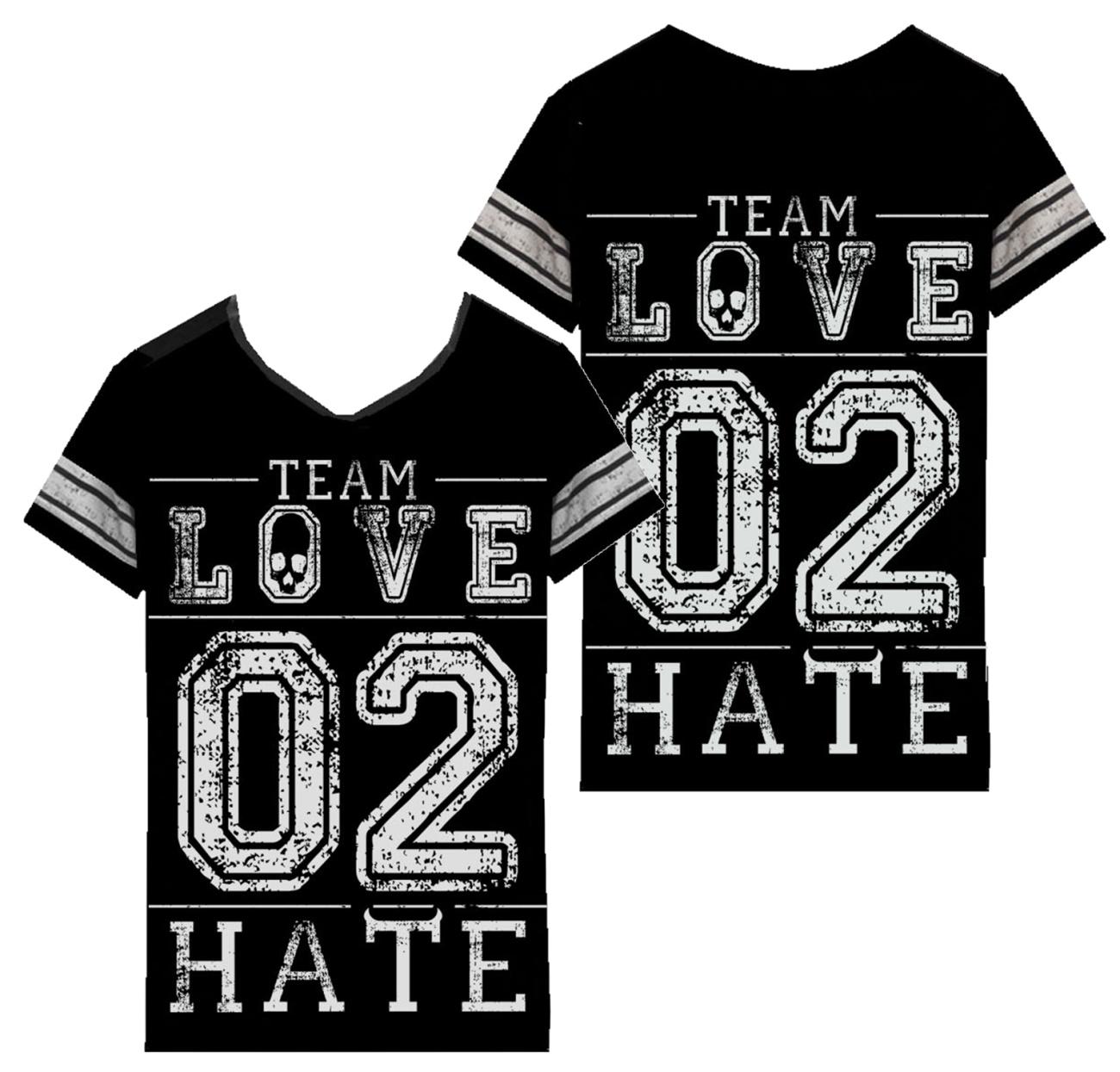 Damen T-Shirt Team Love to Hate varsity Heartless