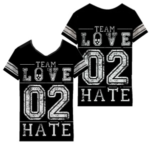 Damen T-Shirt Team Love to Hate varsity Heartless