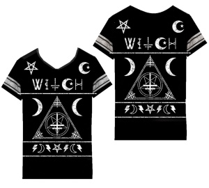 Damen T-Shirt Witch Varsity Heartless