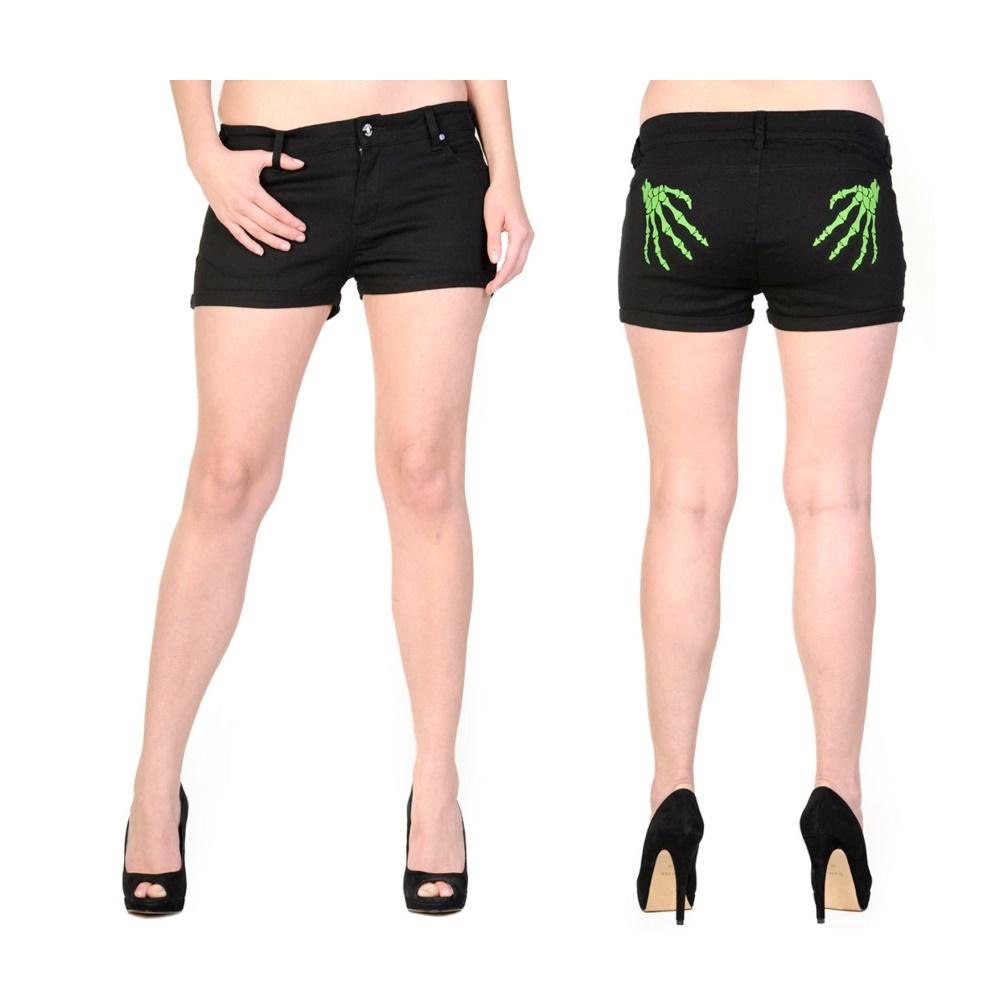 Damen Short grüne Skeletthand Banned
