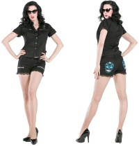 Damen Short mit Totenkopfmotiv Rockabilly Dead Threads
