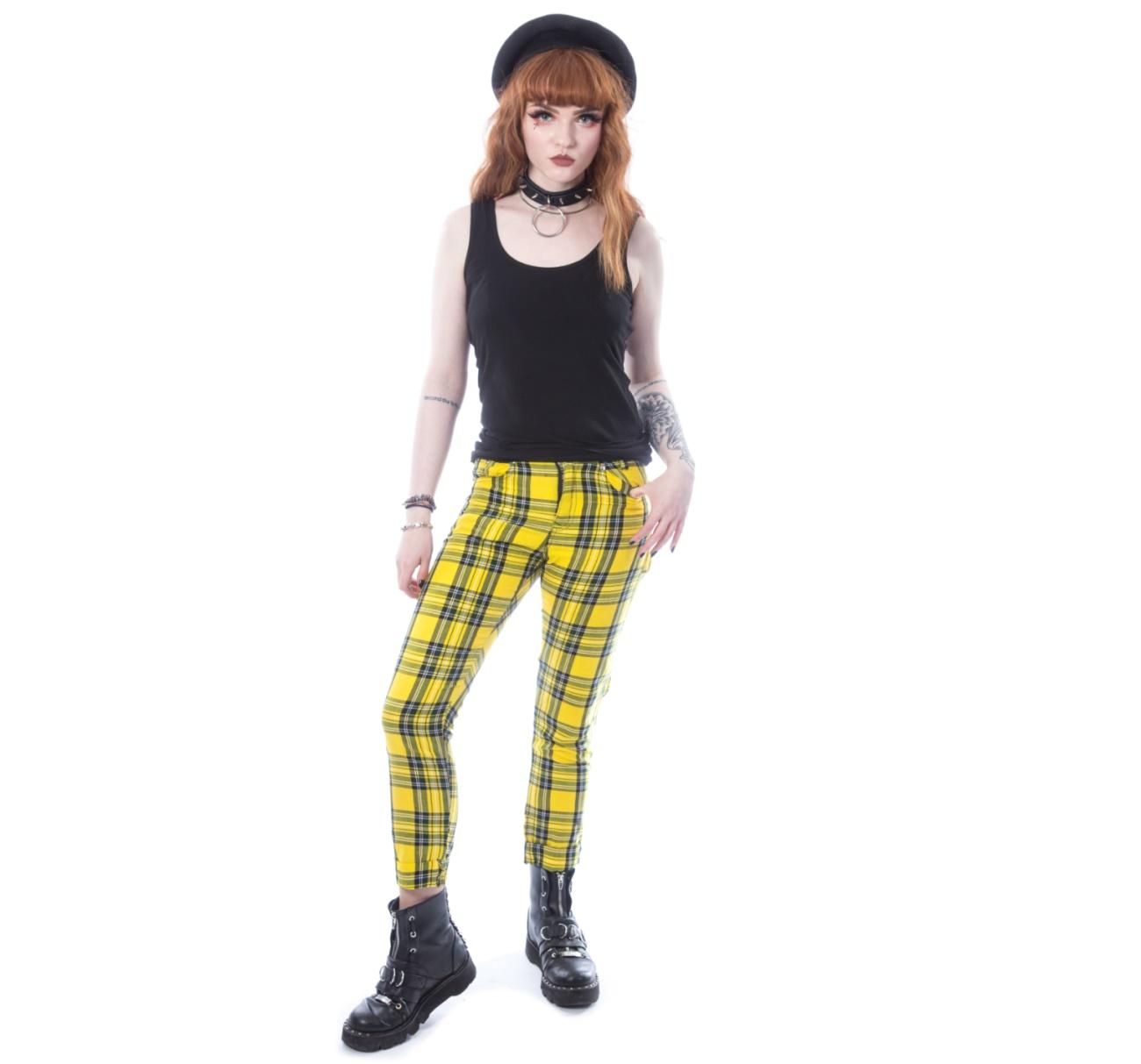 Ladies Tartan Pant Gelb Chemical Black Chemical Black Hosen Gothic Onlineshop Gothic Punk Rockabilly Shop Details Xyliapant Punk