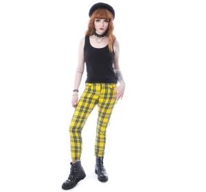 Ladies Tartan Pant gelb Chemical Black