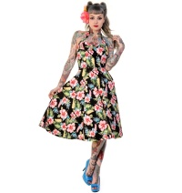 Petticoatkleid/Rock n Roll Kleid Blumen Banned Rockabilly
