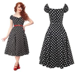 Petticoatkleid/Rock n Roll Kleid Dolores Doll gepunktet Collectif bis Plussize