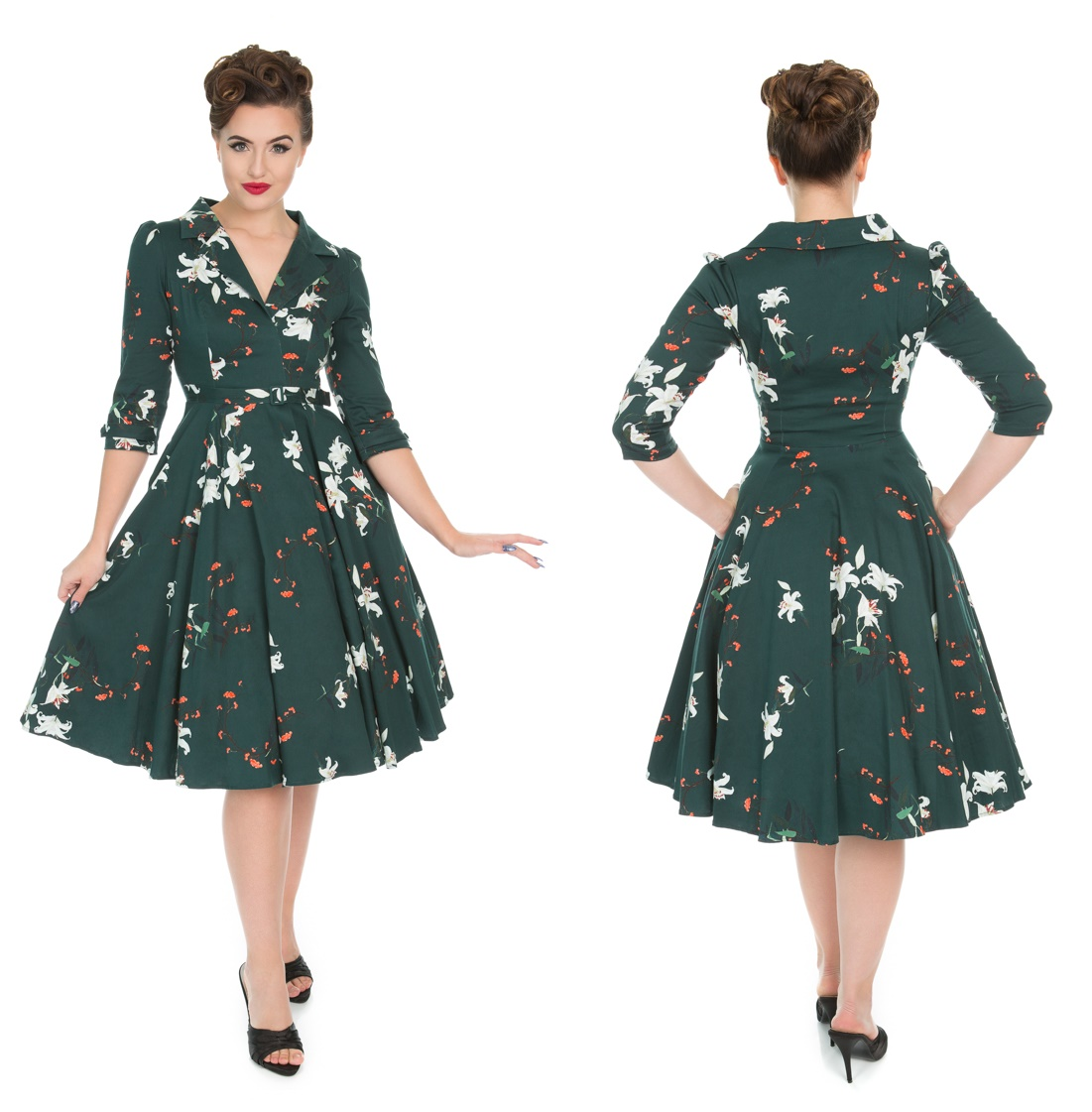 2e328d0b51e4 Rock n Roll Kleid Blumen Floral Swing Dress - Heart&Roses bei Gothic  Onlineshop - www.the-clash.de