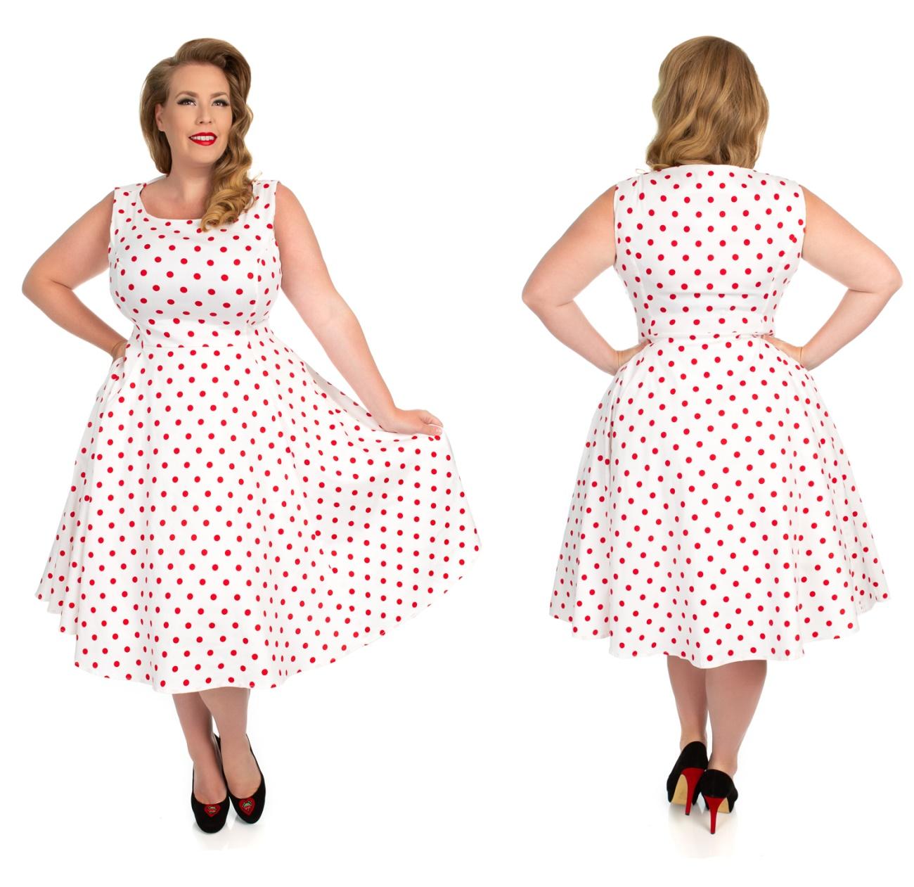 02380df1f8f975 Rock n Roll Kleid weiß mit roten Punkten - Heart&Roses Kleider ...