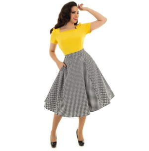 Rockn Roll Rock gingham Swing Skirt Gloria