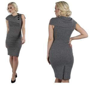 Macie Herringbone Pencil Dress Voodoo Vixen