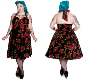 Petticoatkleid/Rock n Roll Kleid Cannes Rosen Plussize Hellbunny