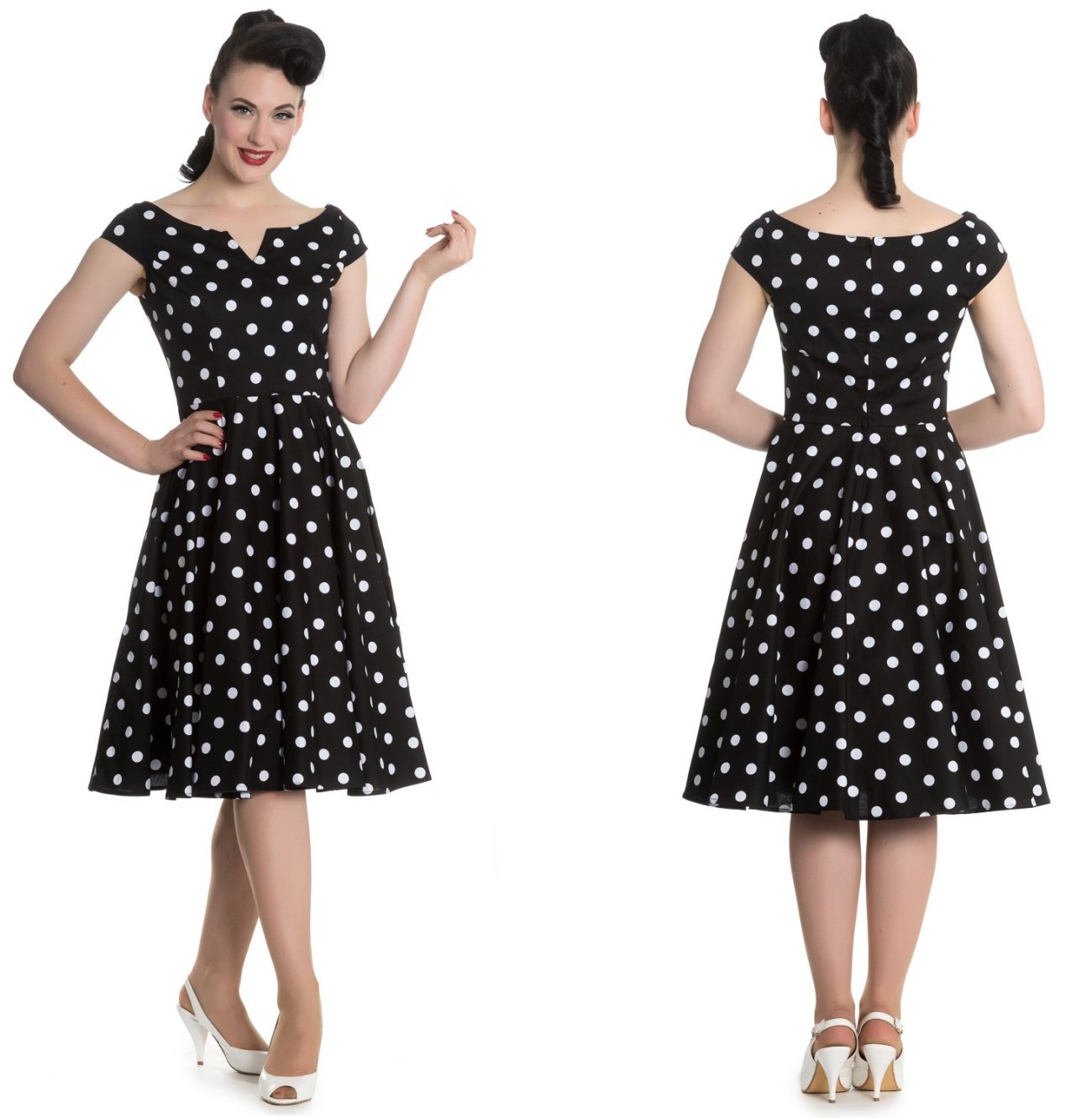 9910a67becf989 Nicky Dress Rock n Roll Kleid Rockabilly Kleid gepunktet Hellbunny ...