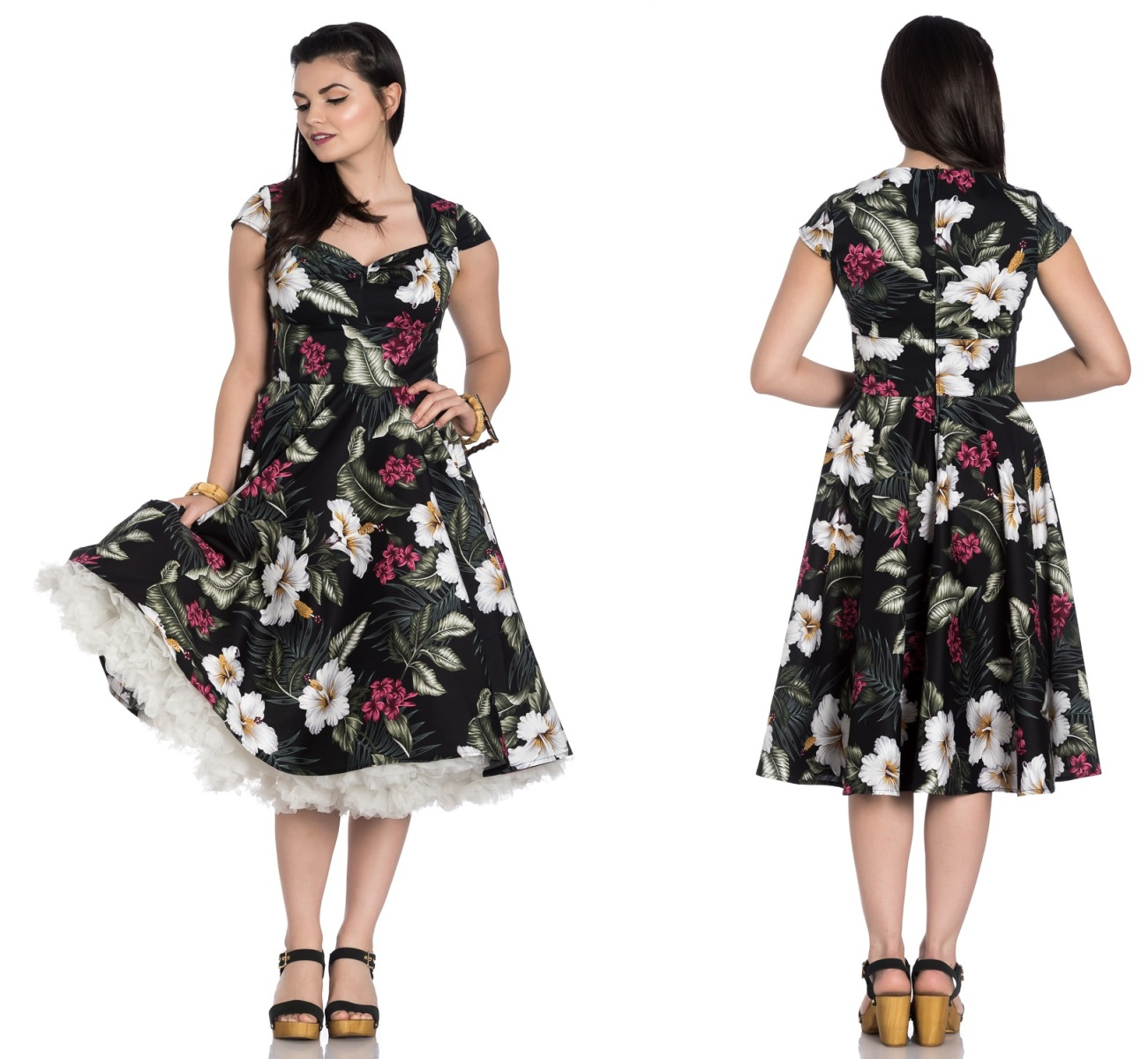 016479173eeb39 Kalei Dress Rock n Roll Kleid Blumenmuster Hellbunny in S ...