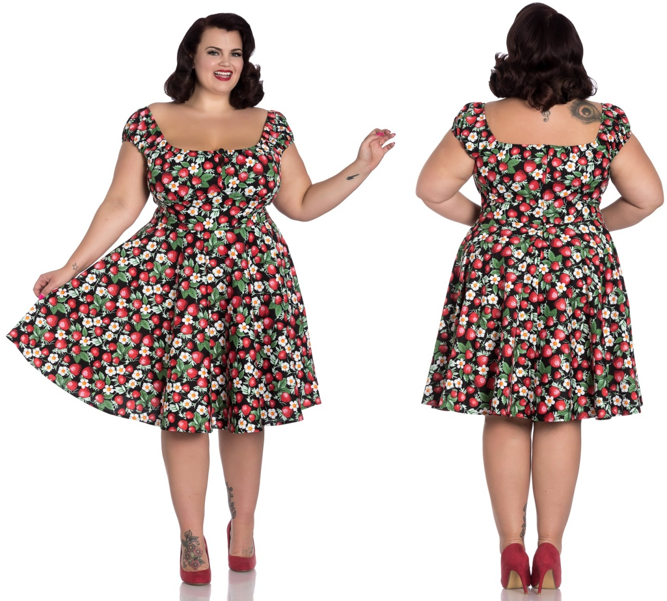 4c6828287f959b Strawberry/Erdbeere Sundae Mid Dress Rock n Roll Kleid Übergrösse Hellbunny