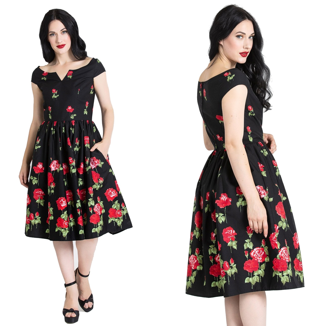 32d0a1bc5762a1 Marlena Dress Rockn Roll Kleid Rockabilly Kleid Hellbunny Plussize ...