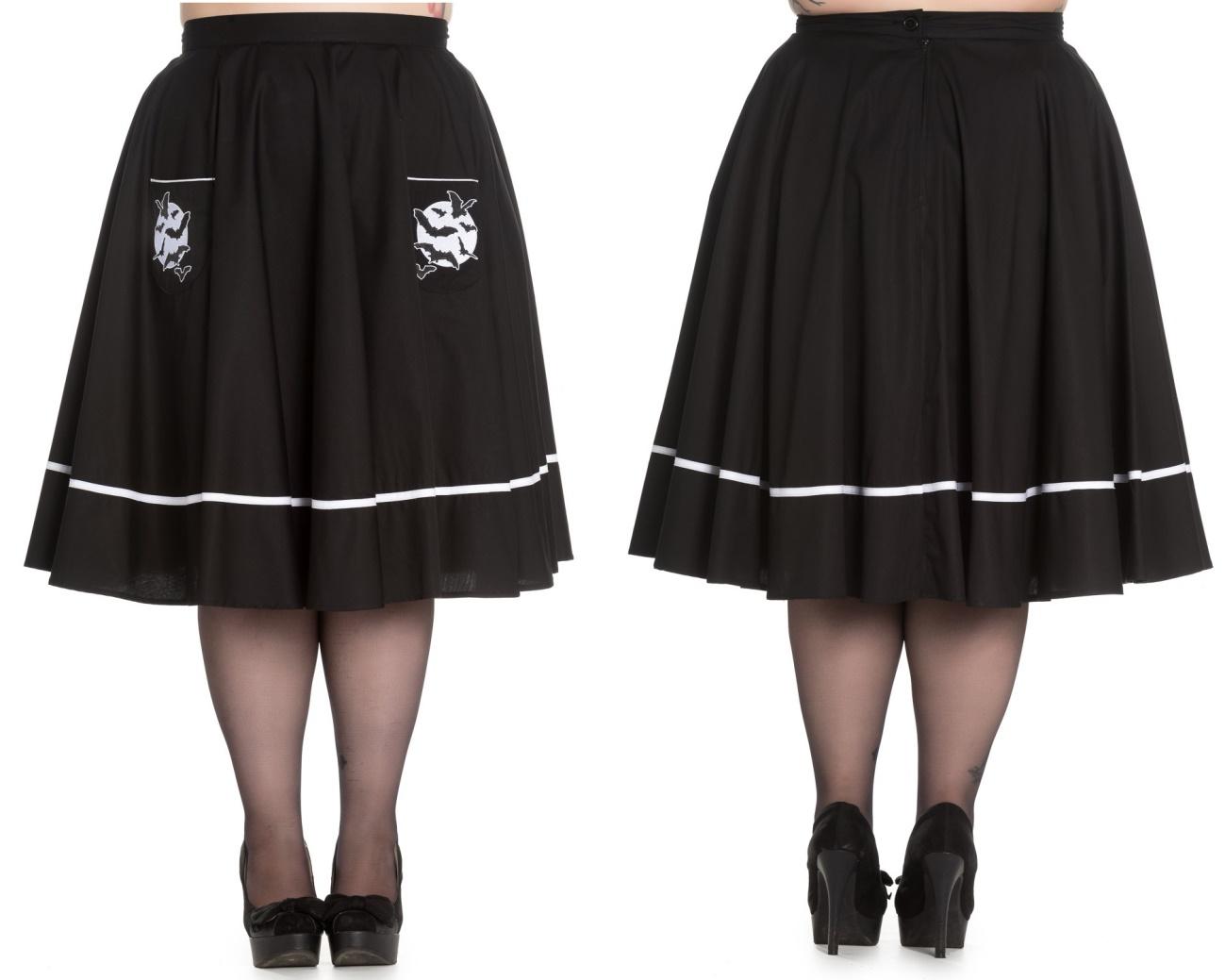 Full Moon Skirt/Rock Fledermaus Spin Doctor Übergröße