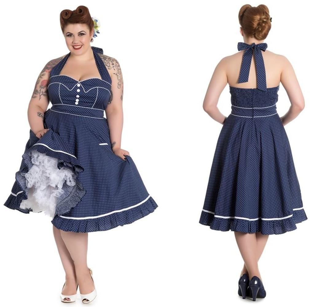 Rockabilly Kleid Vanity gepunktet Übergrösse Hellbunny Rockabilly Farbe
