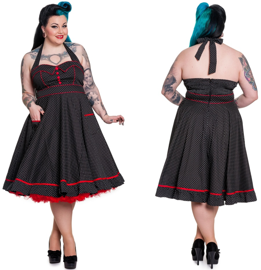 rockabilly kleid vanity gepunktet hellbunny bergr sse. Black Bedroom Furniture Sets. Home Design Ideas