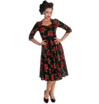 Rock n Roll Kleid Eternity Hellbunny Rosenmuster